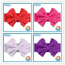 2015 Hot Sale Fashion Kid Hair Accessories Elastic Baby Girl Cotton Headband With Large Bow Decoration