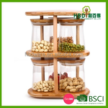 HBD wholesale eco-friendly clear glass airtight canister storage set