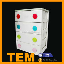 Durable Safe Colored 4 Drawers Kids Toy Cabinet