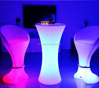 Led Bar Furniture Cocktail Table/Hot Sell Led Rechargeable Cocktail Table/LED Remote Outdoor Lawn Cocktail Table