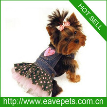 Pet Clothes Sweet Lovely Dot Denim Tutu Pet Dog Clothes Cat Pet Dress Spring Autumn Facory Produce Fast Shipping