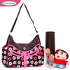 Romantic Brown-flower Nappy bag for baby diapers changing