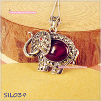 S925 Sterling Silver Elephant Marcasite Pendant with Natural Opal,Garnet