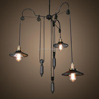 Industrial Hanging Pendant Light Wall Sconce with 3 Lamp Sources