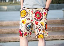 2015 summer beach wear printing young short pants for man