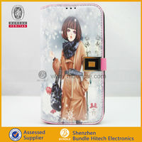 Luxury Beauty Girl leatehr Wallet card Case for samsung s4 i9500
