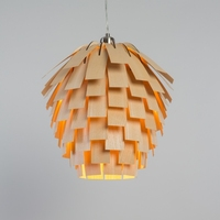 Scots Light pine cone wooden lamp shade with veneer bent strips held by a birch wood frame