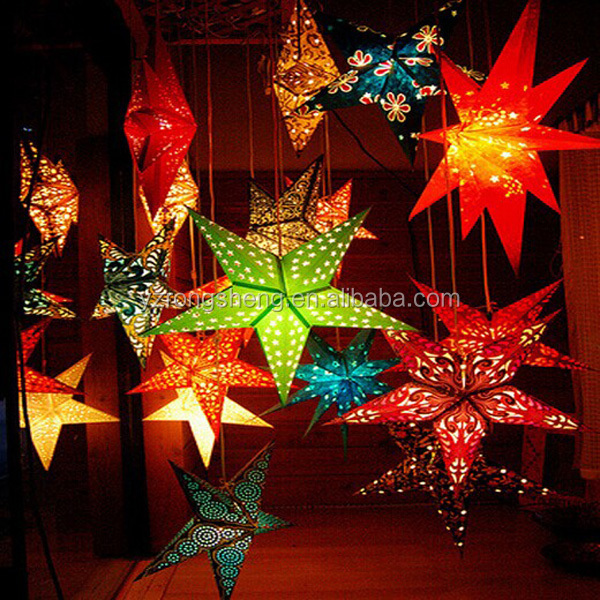 Christmas decoration 5 point popular hanging paper moroccan star