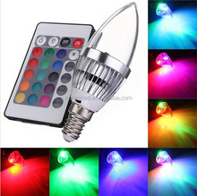 party decorations E14 3W RGB LED Changing Light Candle Bulb Lamp 85-265V with Remote Control