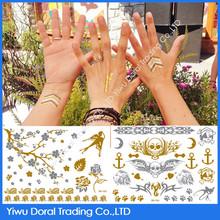 2015 New Hot Body Waterproof Mixed Gold Foil Tattoo Sticker