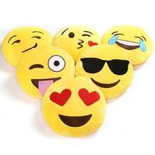 Smiley Emoticon Yellow Round Cushion Plush Emoji Pillows Cushions