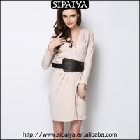 Long sleeve cambric v neck ladies dresses online shopping