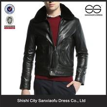 Fancy Style Cheap Price Black Mens Genuine Leather Jacket Fur Collar, Custom Wholesale Leather Jacket