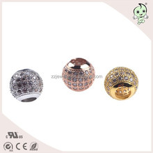 Gold/Rose Gold/Silver Plating and CZ Micro Pave Setting 925 Sterling Silver Shamballa Bead