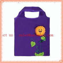 Water proof new plush polyester flower printed foldable shopping bag