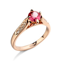 Colorful Zircon Ring,Gold ring, Diamond ring of men's ring with 5 color AAA Zircon ruby ring of korea fashion