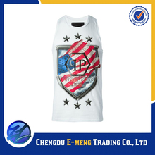 High Fashion Mens New Logo Custom Print Tank Tops in White