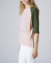 CHEFON Colour block fashion ladies tops images