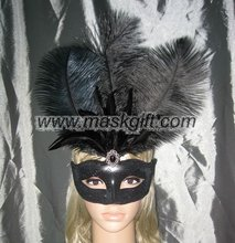 A009-BK Venetian feather mask in solid black color with ostrich feathered carnival party masks