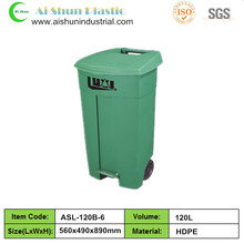120 liter outdoor construction plastic waste bins with pedal