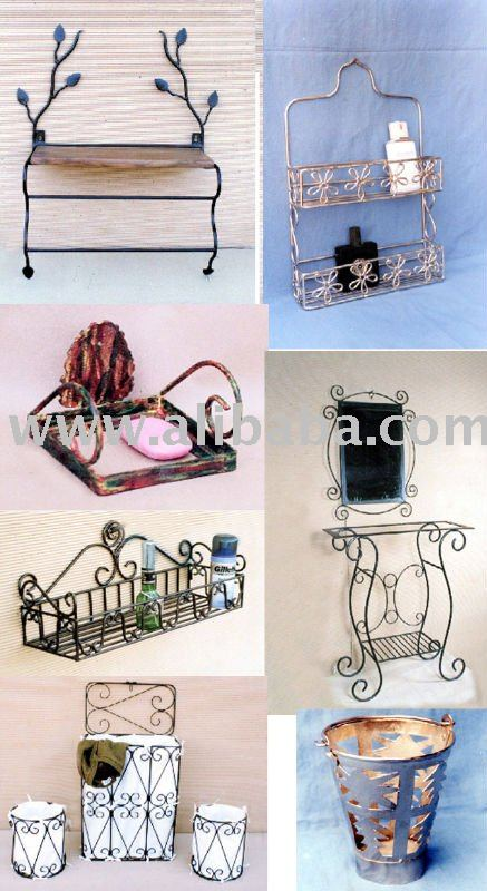 Wrought iron bath accessories bathroom cady soap holder towel hanger paper holder waste box for Wrought iron bathroom furniture