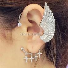 Europe fashion dissymmetry ear clip wing with cross earrings 925 sterling silver earring