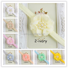 FASHION BABY INFANT HEADBAND WITH PEARL RHINESTONE FLOWER, INFANT HEADBANDS SOFT HAIR ACCESSORIES