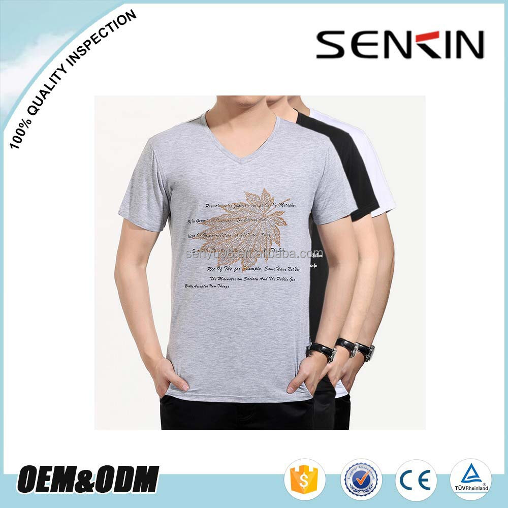 Wholesale v neck cotton stretch t shirt in guangzhou for 100 cotton v neck t shirts wholesale