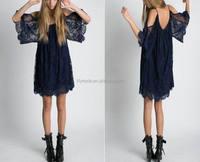 New Summer Loose Women Dresses Spaghetti Strap Dark Blue Hollow Out Ladies Beach Wear