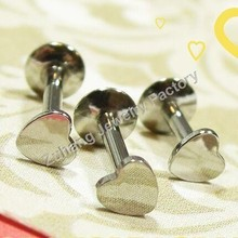 High Polish 316L Stainless Steel Flat Heart Top Internally Threaded Monroe Unique Labret Studs