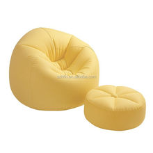 yellow inflatable sofa chair couch with foot support stool for indoor/outdoor camping relaxing