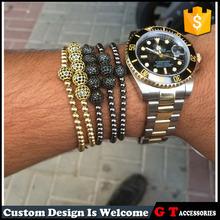 2015 fashion elastic rope metal bracelet with crystal apple round beads, cool men style wrist bracelet