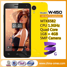 New product Android Cheap Phone W450 Smartphone MTK6582 Quad Core Phone 1.3GHz Android 4.2 3G GPS 4.5 Inch- White