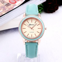 New Fashion Women Geneva High Quality Leather Strap Watches Luxury Rose Golden Case Round Dial Watch