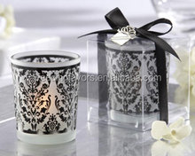 """""""Damask Traditions"""" Frosted Glass Tea Light Holder with Kate Aspen Signature Charm"""