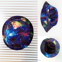 Real sample blue starry stars digital print trucker sun hat wholesale from china