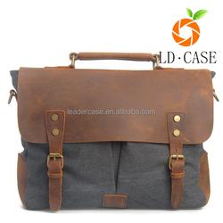 New vintage design men's leather and canvas splicing travel messenger shoulder bag