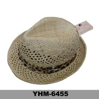 Wholesale raffia paper straw hats with fashion ribbon wrapping