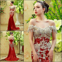 YED11369 Off Shoulder Sequin Lace Crystals Beaded Red Evening Dresses In Istanbul