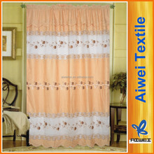 Rod Pocket 100% Polyester Slub Fabric Hydrotropic Embroidery Curtain