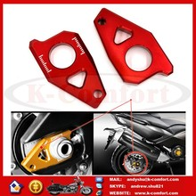 K032 New Arrival Red Motorcycle CNC Rear Axle Spindle Chain Adjuster Blocks Fit for Yamaha T-MAX 530 500 FZ8 FZ1 YZF R1 t max