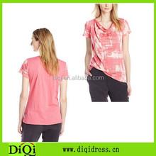 Ladies Short Sleeve Cowl Neck Printed Tee Shirt