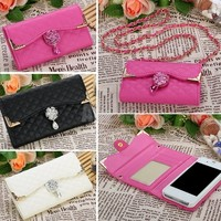 Fashion New Wallet Design PU Leather Flip Wallet Case Cover Card Holder Handbag For Apple iPhone 4S 5S 6Plus