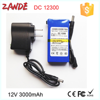 Rechargeable light weight li-ion battery pack 12v 3000mah for LED Strip&Panel/Light