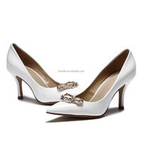 Bridal rhinestone gold pumps custom shoes with logo low heel comfortable stilettos elegant women wedding pumps