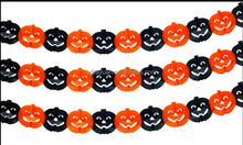 Halloween Pumpkin Design 10FT-Party Banner Paper Flower Garland Orange-Black-NEW-SEALED