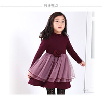 Popular baby girl thicken flower winter dress