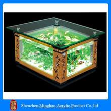 Customized clear acrylic aquarium, coffee table fish tank for cheap sale