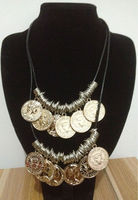 OU1419 jewellery thailand,country fashion trends,beats.by dr.dre,Chunky Coin Pendant Bib Necklace