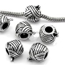 yarn ball with knitting needle european style metal silver bead